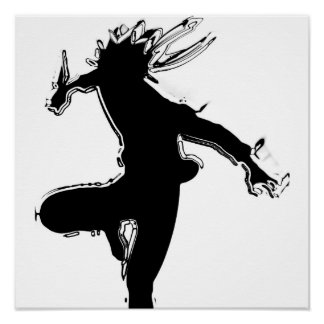 black shadow side kick poster