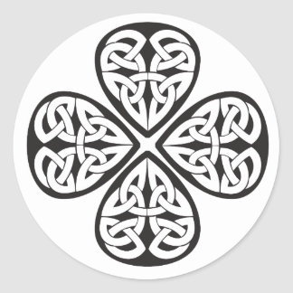 black shamrock celtic knot round sticker