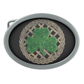 Black Shamrock On Celtic Knots Belt Buckle