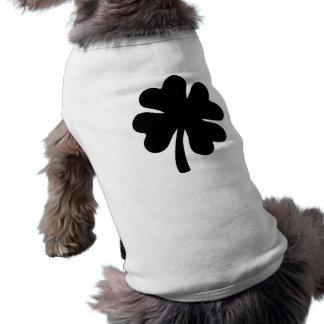 Black shamrock sleeveless dog shirt