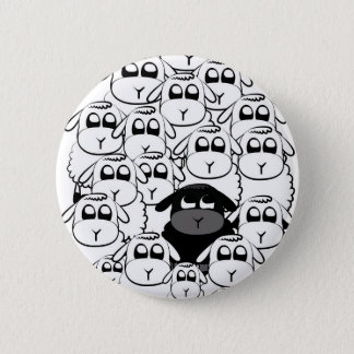 Black sheep 6 cm round badge