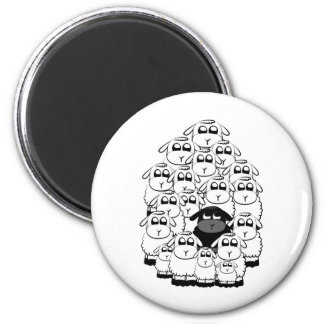 Black sheep 6 cm round magnet