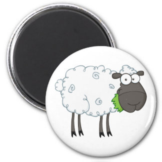 Black Sheep Cartoon Character 6 Cm Round Magnet