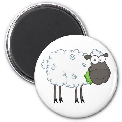 Black Sheep Cartoon Character Fridge Magnet