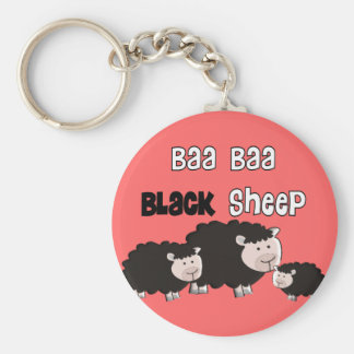 """Black Sheep Designs """"Baa Baa Black Sheep"""" Basic Round Button Key Ring"""