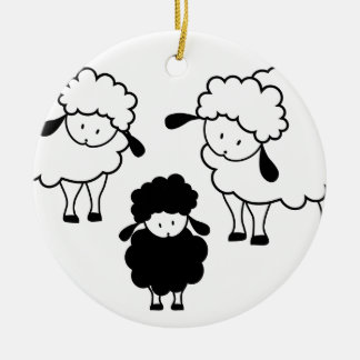 Black sheep family christmas ornament