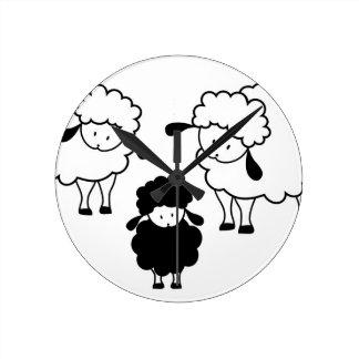 Black sheep family round clock