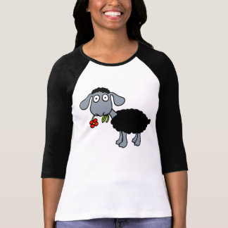 Black Sheep Lamb with Red Flower Gray White T-Shirt