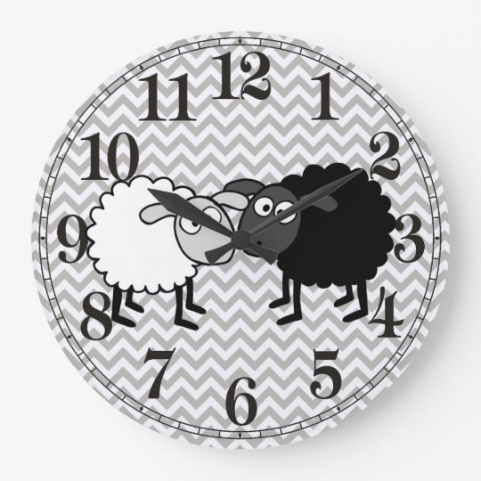 Black Sheep White Sheep Round (Large) Wall Clock