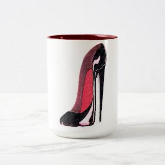 Black Shiny Left Stiletto Shoe Two-Tone Coffee Mug