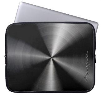 Black Shiny Metallic  Stainless Steel Look Laptop Sleeve