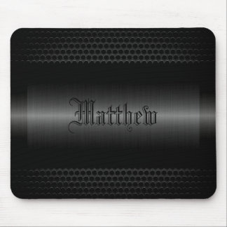 Black Shiny Stainless Steel Metal Look Mouse Mat