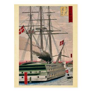 Black ship off Shinagawa by Utagawa, Hiroshige Postcard