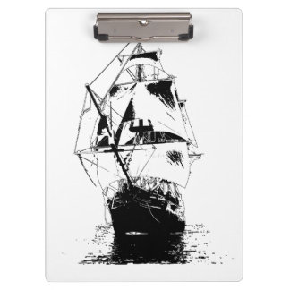 Black Ship Silhouette Clipboard