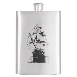 Black Ship Silhouette Hip Flask