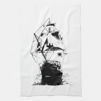 Black Ship Silhouette Tea Towel