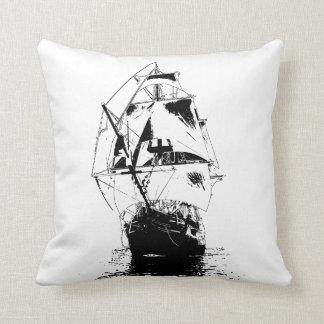 Black Ship Silhouette Throw Pillow