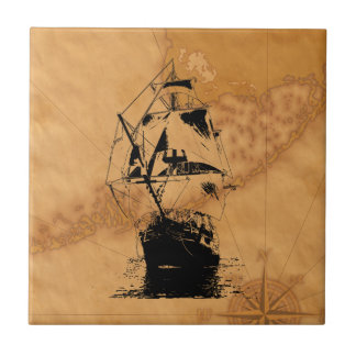 Black Ship Silhouette Tile