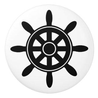 Black Ship Wheel  Nautical Themed Cabinet Knob