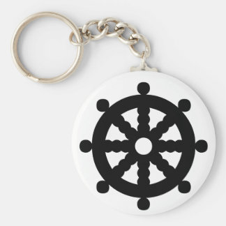 Black Ship's Wheel Basic Round Button Key Ring