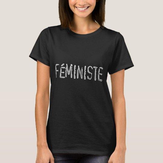Black shirt white letters  Feminist in Latin