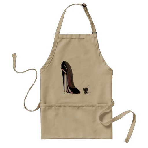 black shoe and scaredy cat apron