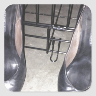BLACK SHOES AND CAGE SQUARE STICKER