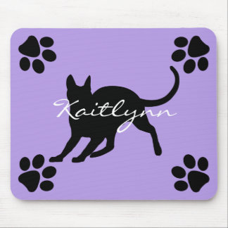 Black Short Hair Kitty with Paws on Lavender Mouse Mat