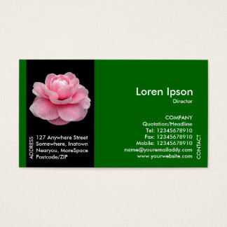 Black Side Band Flower - Pink Camellia II - Green Business Card