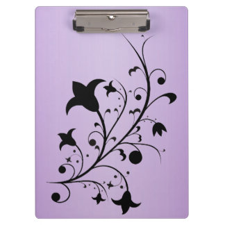 Black Silhouette Abstract Scroll Flowers Purple Clipboard