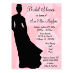 Black Silhouette Bride Pink Floral Background