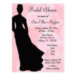 Black Silhouette Bride Pink Floral Background Postcard