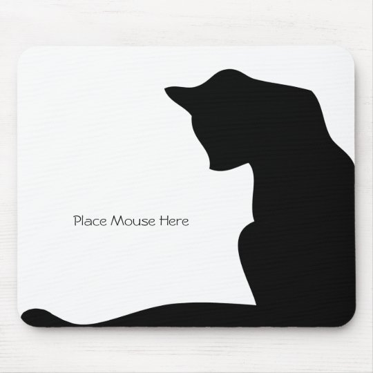 Black Silhouette Cat - Place Mouse Here Mouse Mat