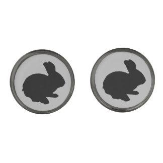 Black Silhouette Easter Bunny Cufflinks Gunmetal Finish Cufflinks