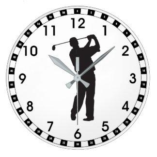 Black Silhouette Golfer Wall Clock