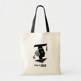 Black Silhouette Graduating Class Year Budget Tote Bag