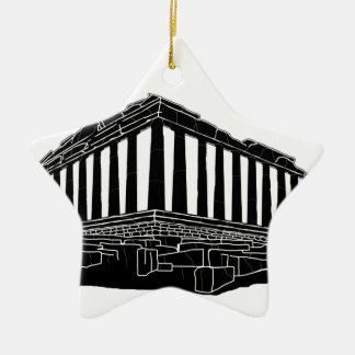 Black silhouette of Parthenon Christmas Ornament