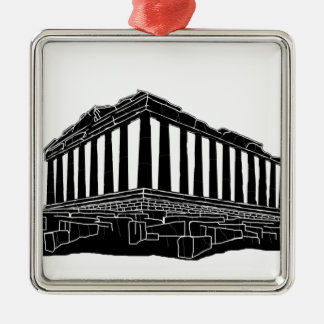 Black silhouette of Parthenon Silver-Colored Square Decoration