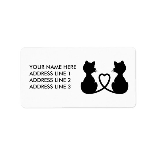 Black Silhouette Of Two Cats In Love Address Label