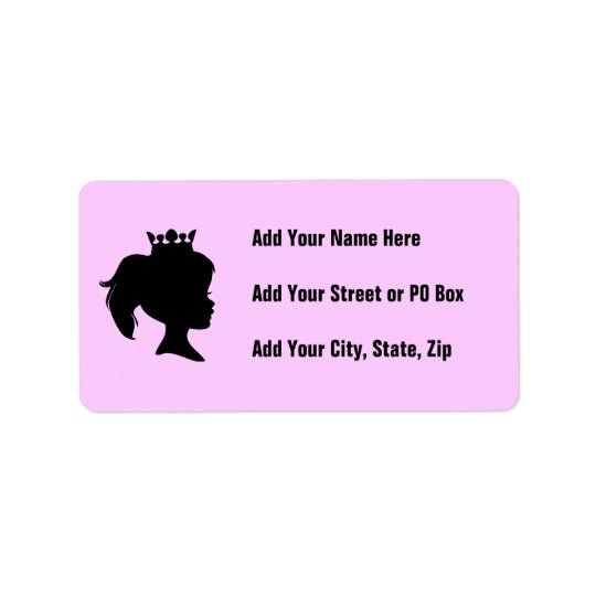 Black Silhouette Princess T-shirts and Gifts Address Label