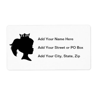 Black Silhouette Princess T-shirts and Gifts Shipping Label