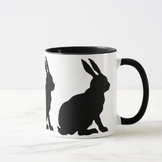 Black Silhouette Rabbits Mug