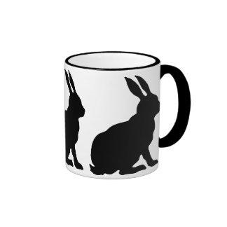 Black Silhouette Rabbits Ringer Coffee Mug