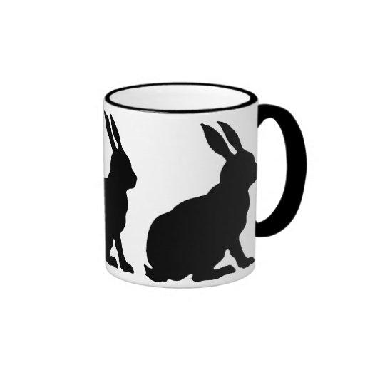 Black Silhouette Rabbits Coffee Mugs