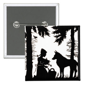 Black Silhouette Red Riding Hood Wolf Woods 15 Cm Square Badge