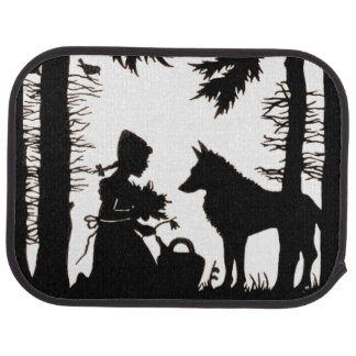 Black Silhouette Red Riding Hood Wolf Woods Floor Mat