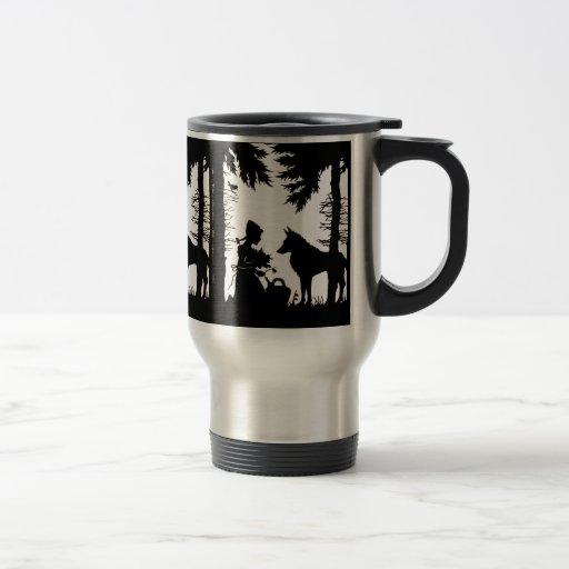 Black Silhouette Red Riding Hood Wolf Woods Coffee Mug
