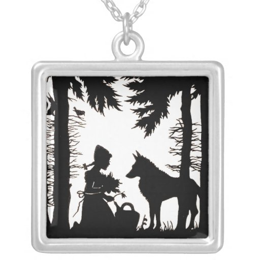 Black Silhouette Red Riding Hood Wolf Woods Custom Necklace