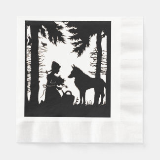 Black Silhouette Red Riding Hood Wolf Woods Paper Napkin