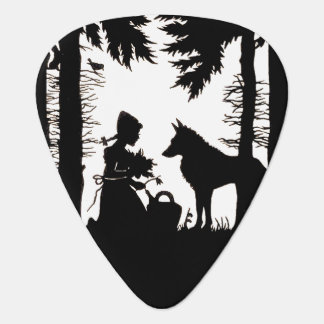 Black Silhouette Red Riding Hood Wolf Woods Plectrum